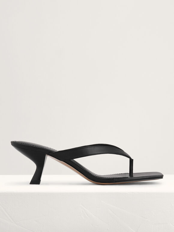 Square Toe Thong Heeled Sandals, Black, hi-res