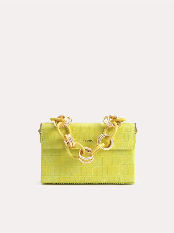 Croc-Effect Boxy Shoulder Bag, Yellow, hi-res