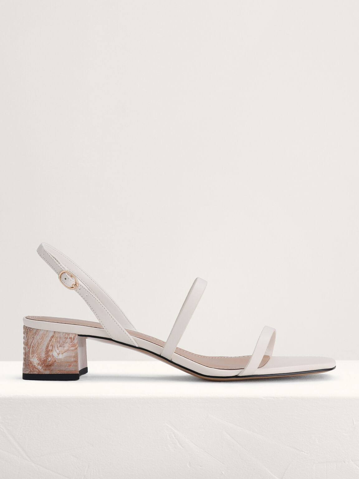 Square Toe Heeled Sandals, White, hi-res