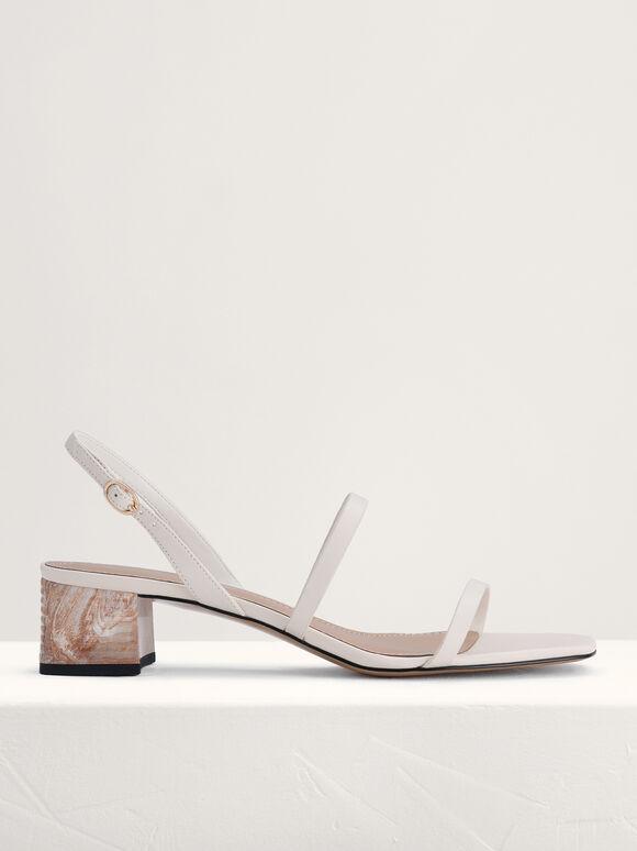 Square Toe Heeled Sandals, White, hi-res