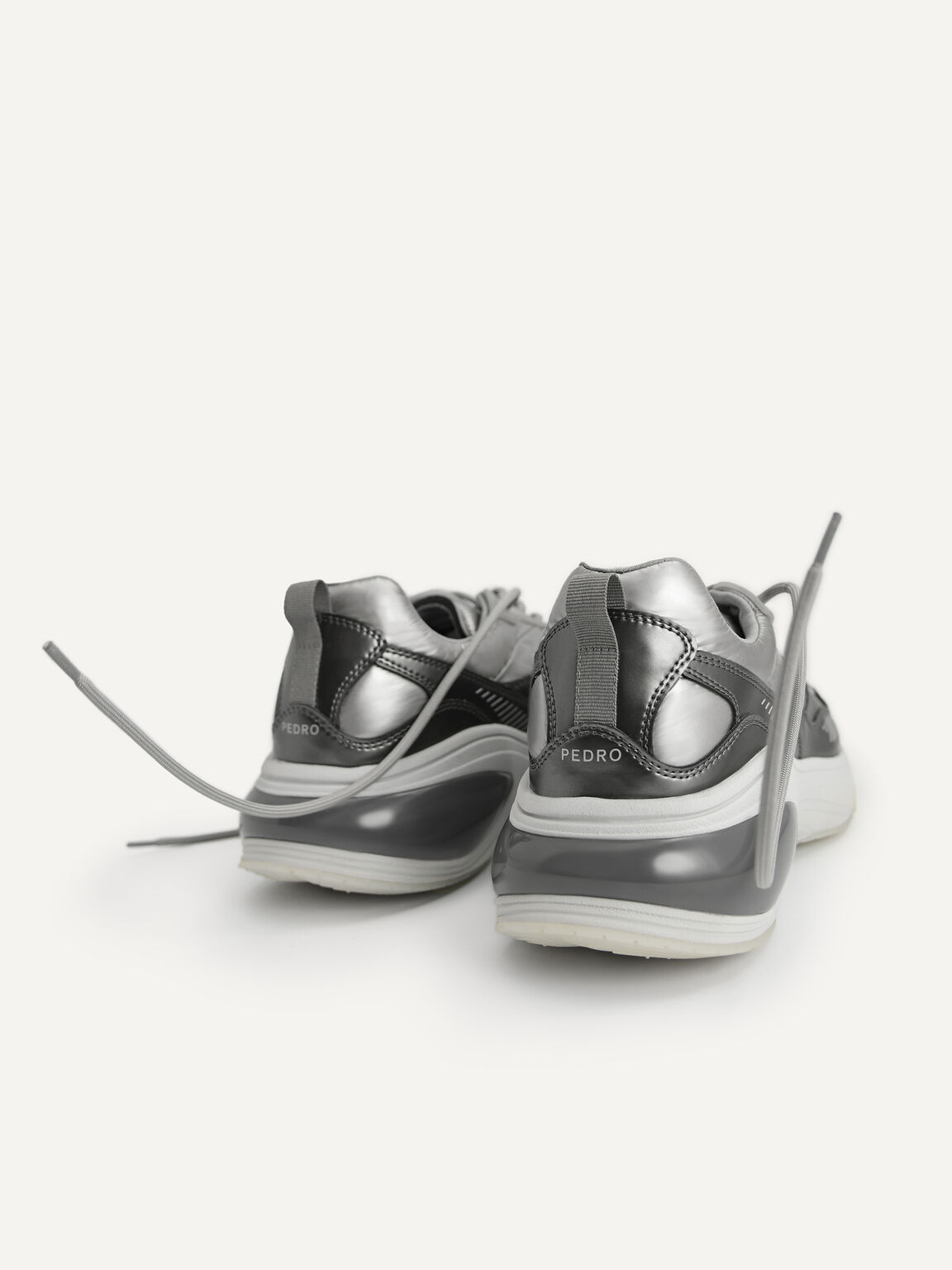 Metallic Chunky Sneakers, Silver, hi-res