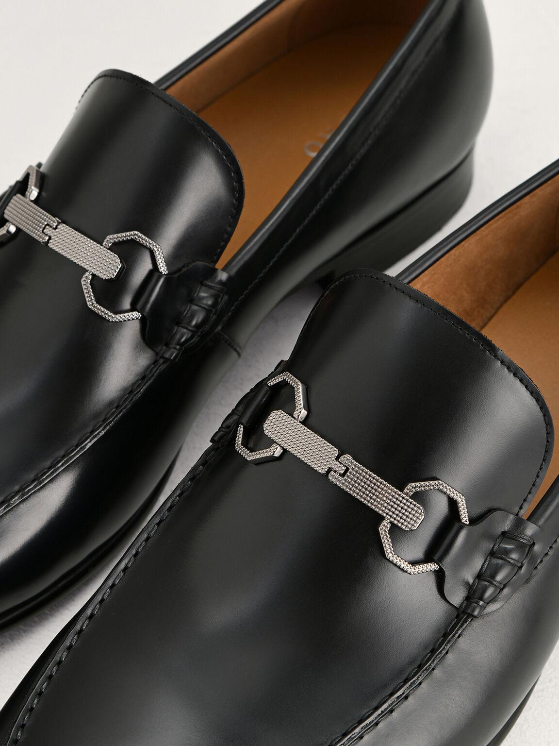帶釦皮革樂福鞋, 黑色, hi-res