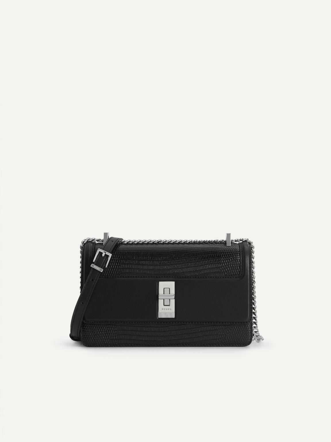 Lizard-Effect Leather Shoulder Bag, Black, hi-res
