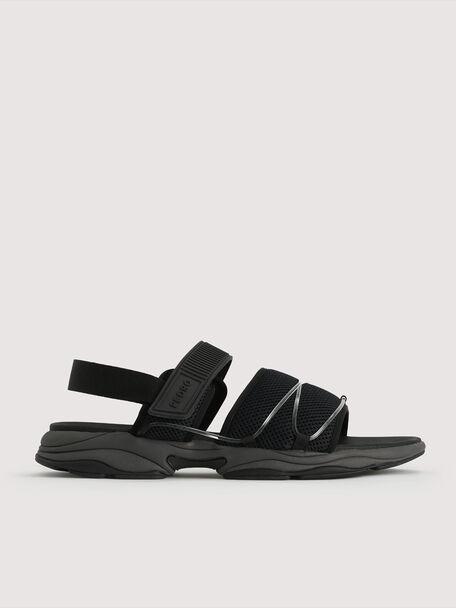 Slingback Velcro Sandals, Dark Grey, hi-res