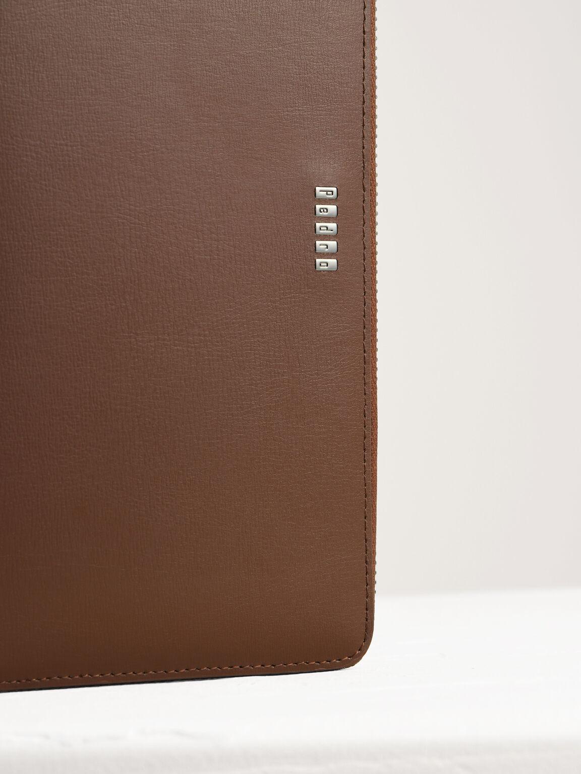 Leather Zip-Around Travel Organizer, Cognac, hi-res