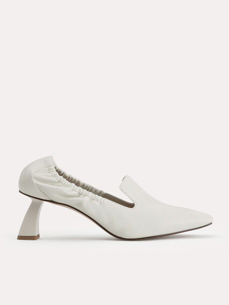 Leather Heeled Loafers, Chalk, hi-res
