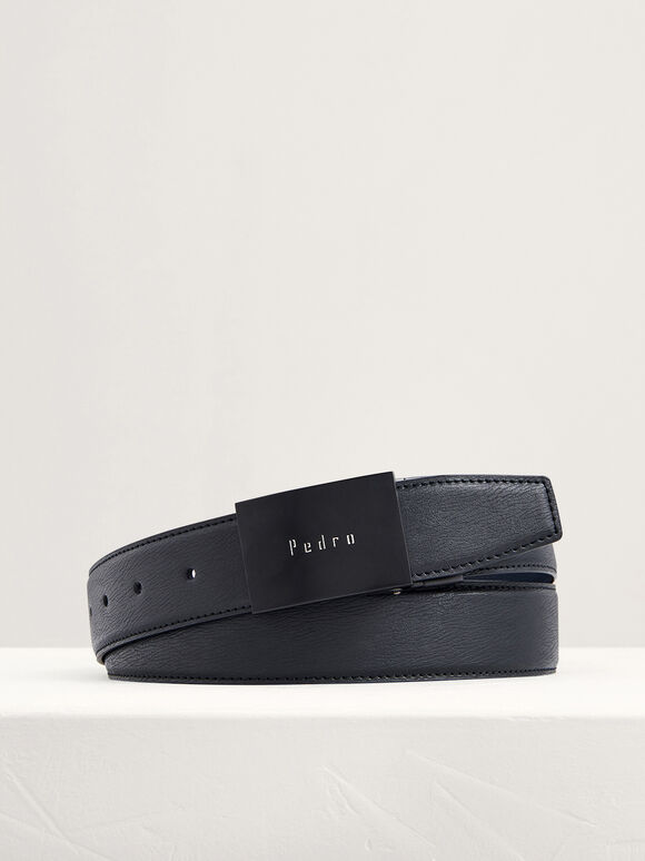 Reversible Leather Tang Belt, Black, hi-res