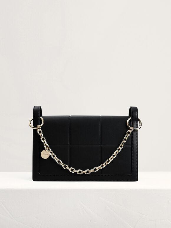 Chain Detailed Top Handle Bag, Black, hi-res