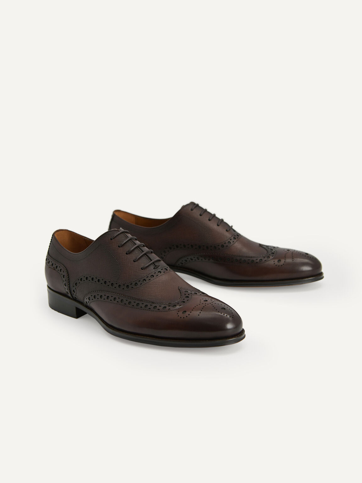 Textured Brogue Oxford Shoes, Dark Brown, hi-res
