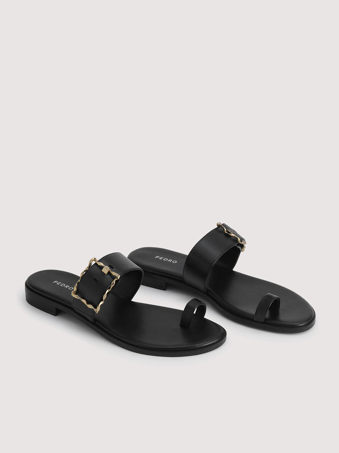 Toe Loop Sandals with Gold Buckle, Black, hi-res