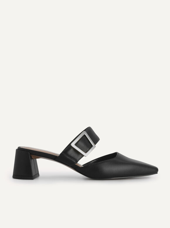 Leather Slip-On Heels, Black, hi-res