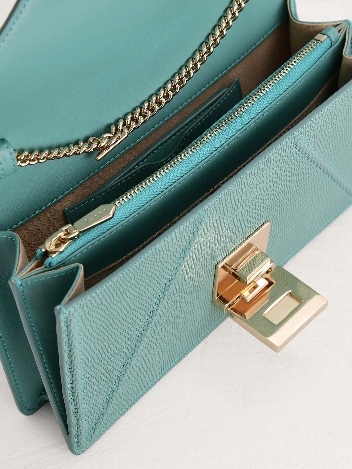 Lizard-Effect Leather Shoulder Bag, Turquoise, hi-res