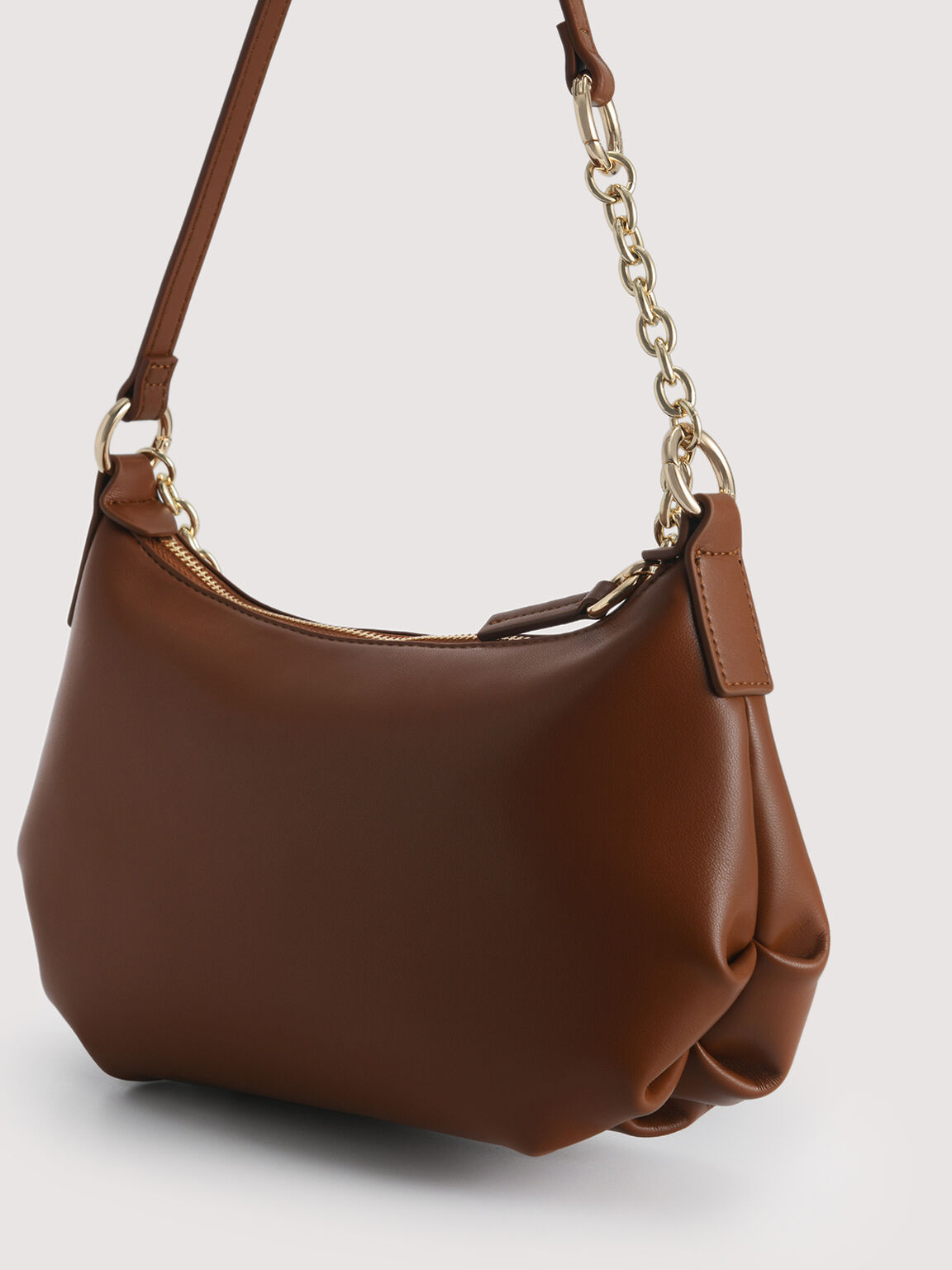 Shoulder Semi-Circle Bag, Cognac, hi-res