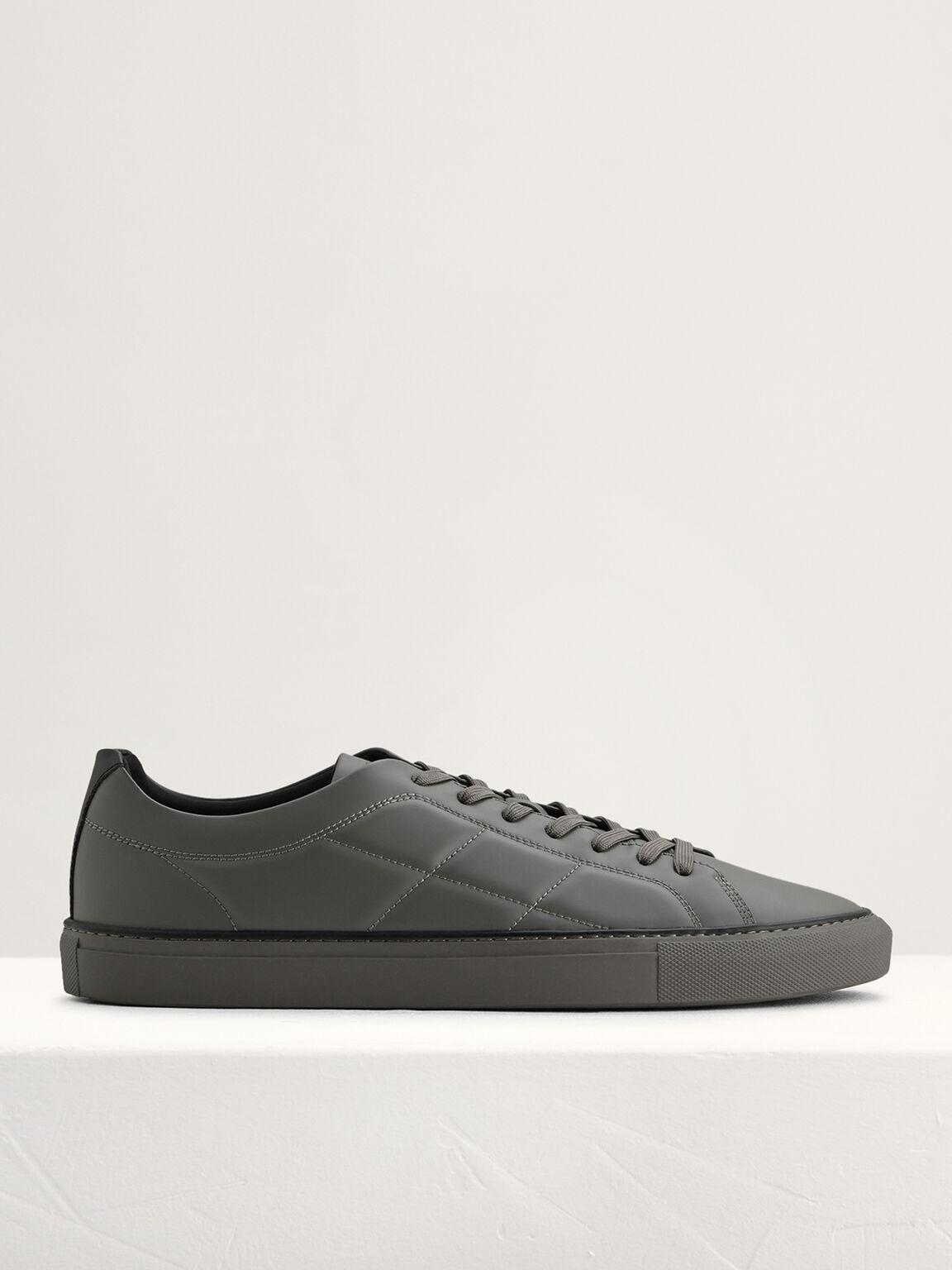 Quilted Court Sneakers, Dark Grey, hi-res