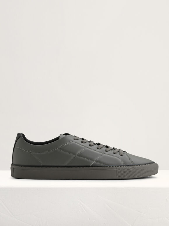 Quilted Court Sneakers, Dark Grey, hi-res