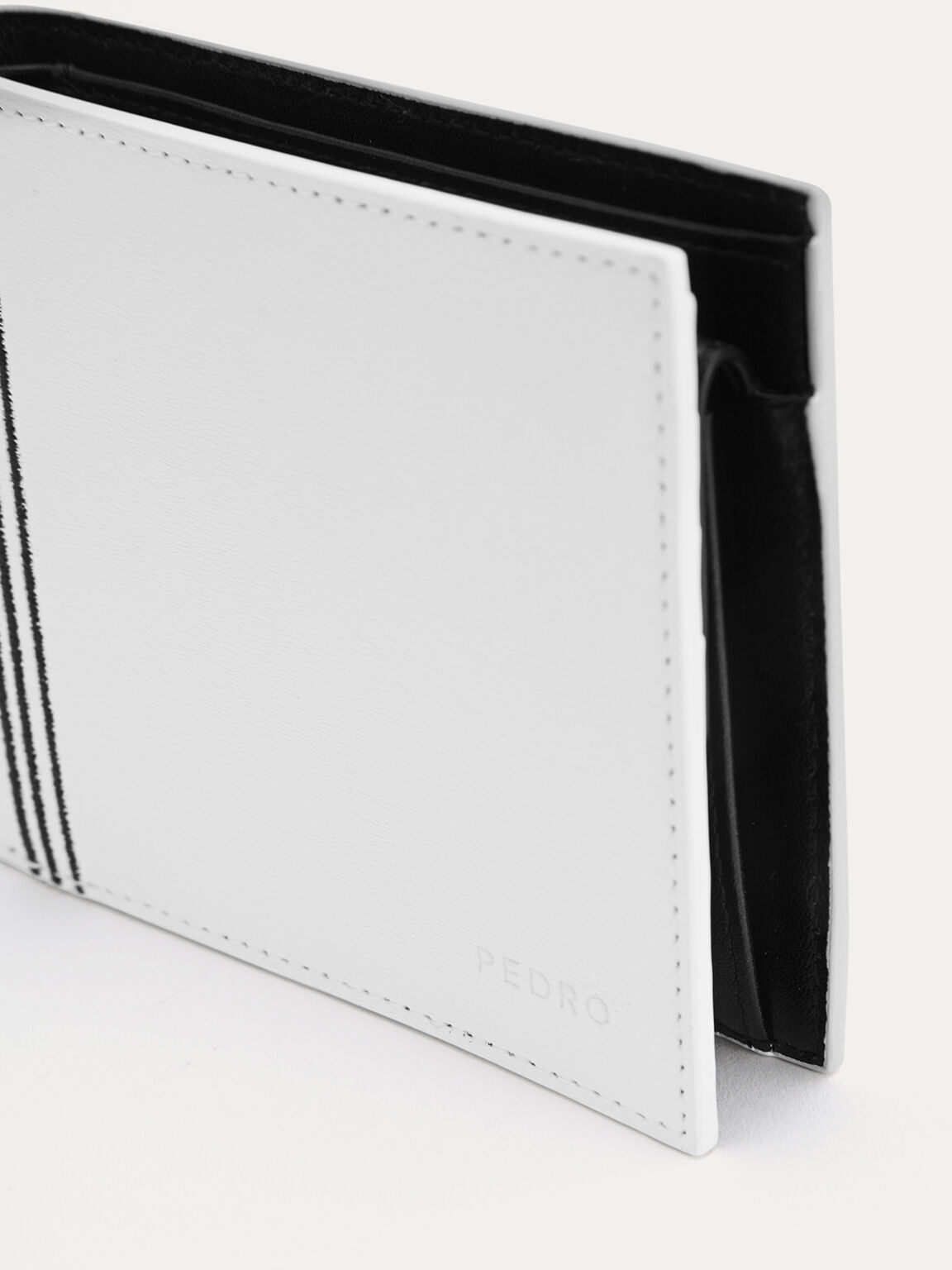 Textured Leather Bi-Fold Wallet with Coin Pouch, White, hi-res