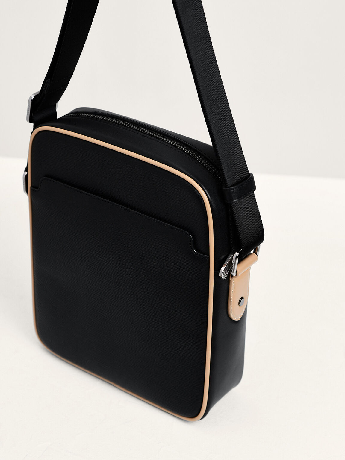 Embossed Leather Sling Bag, Black, hi-res