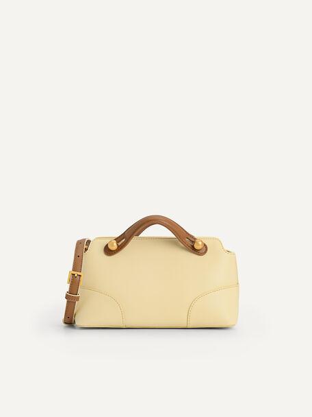 Shearling Bowling Bag, Light Yellow, hi-res