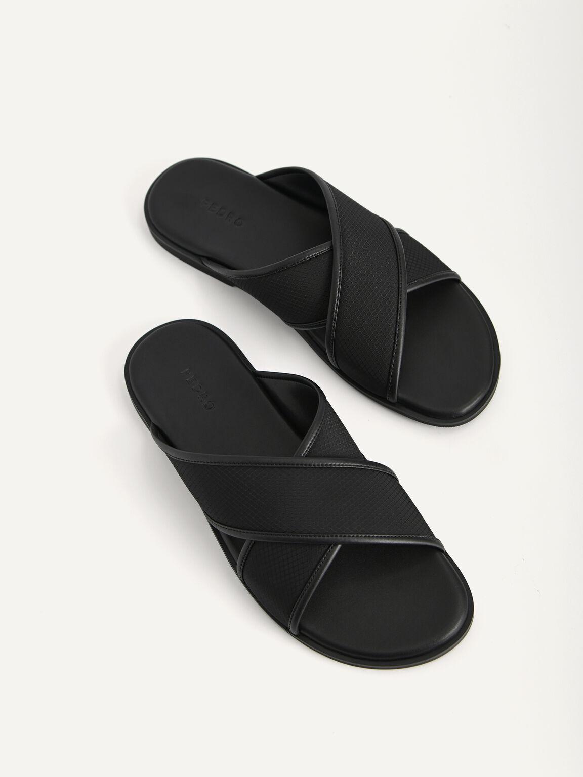 Criss-Cross Strap Sandals, Black, hi-res