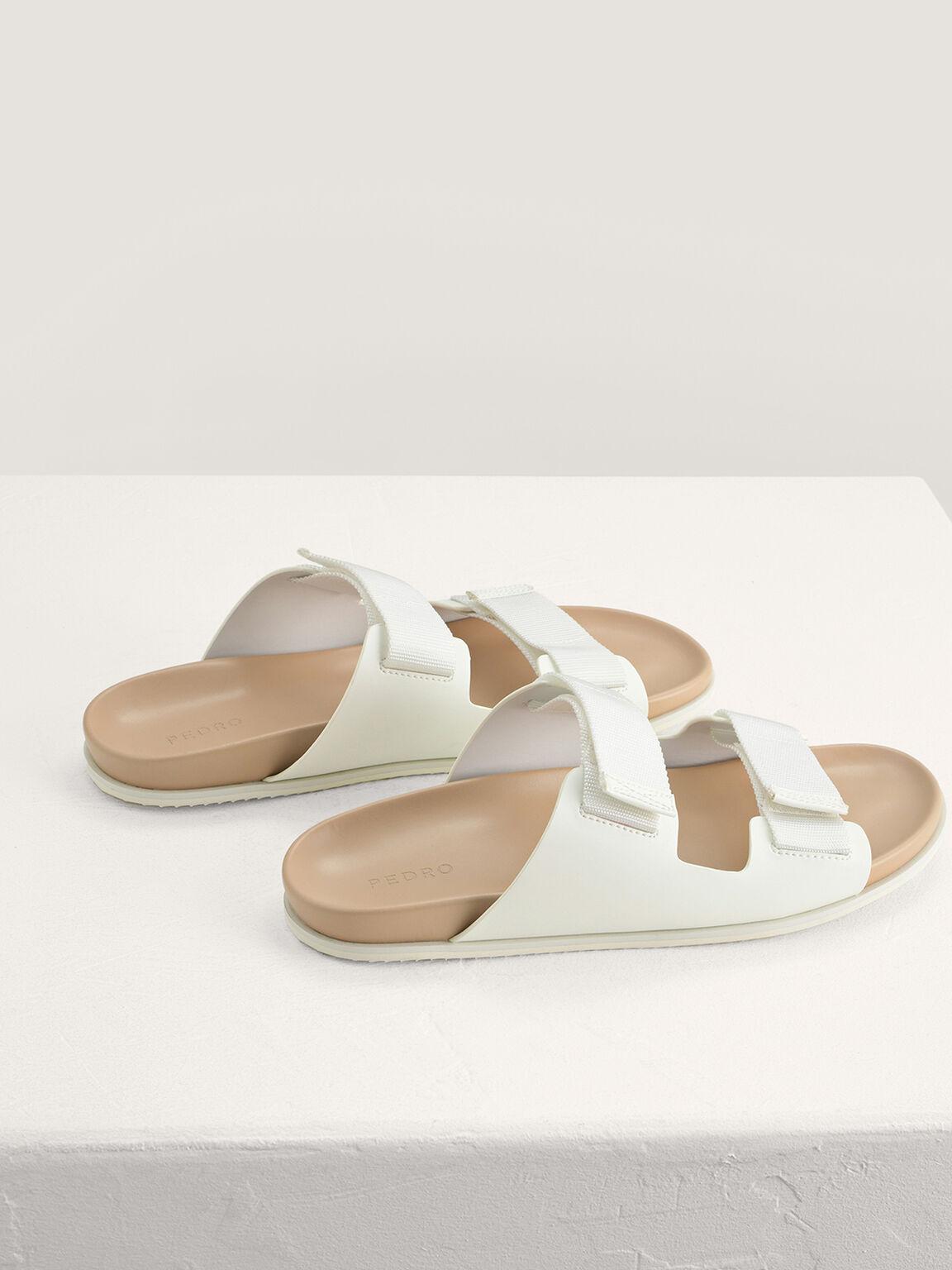 Double Strap Velcro Sandals, White, hi-res
