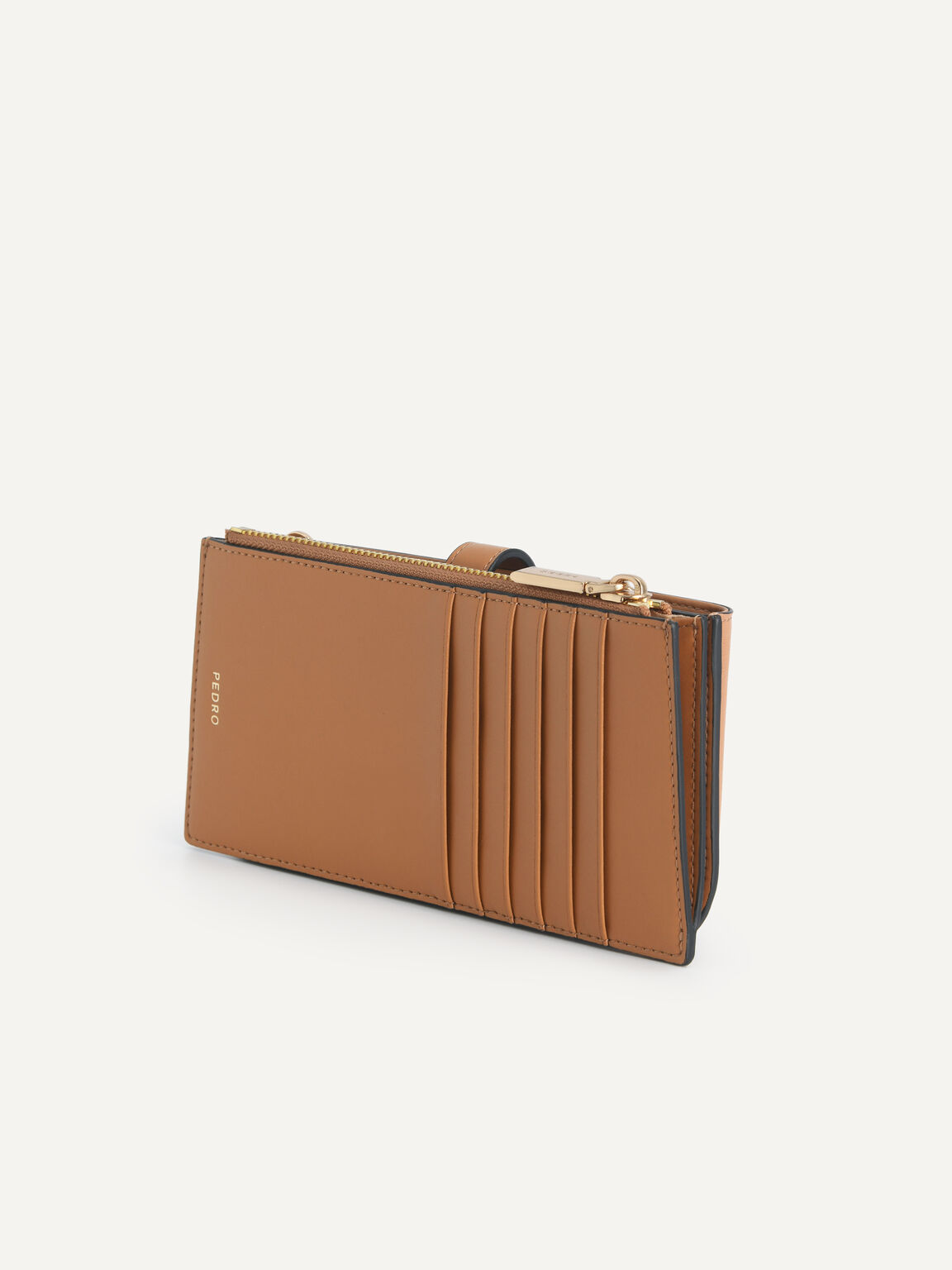 Textured Leather Phone Pouch, Camel, hi-res