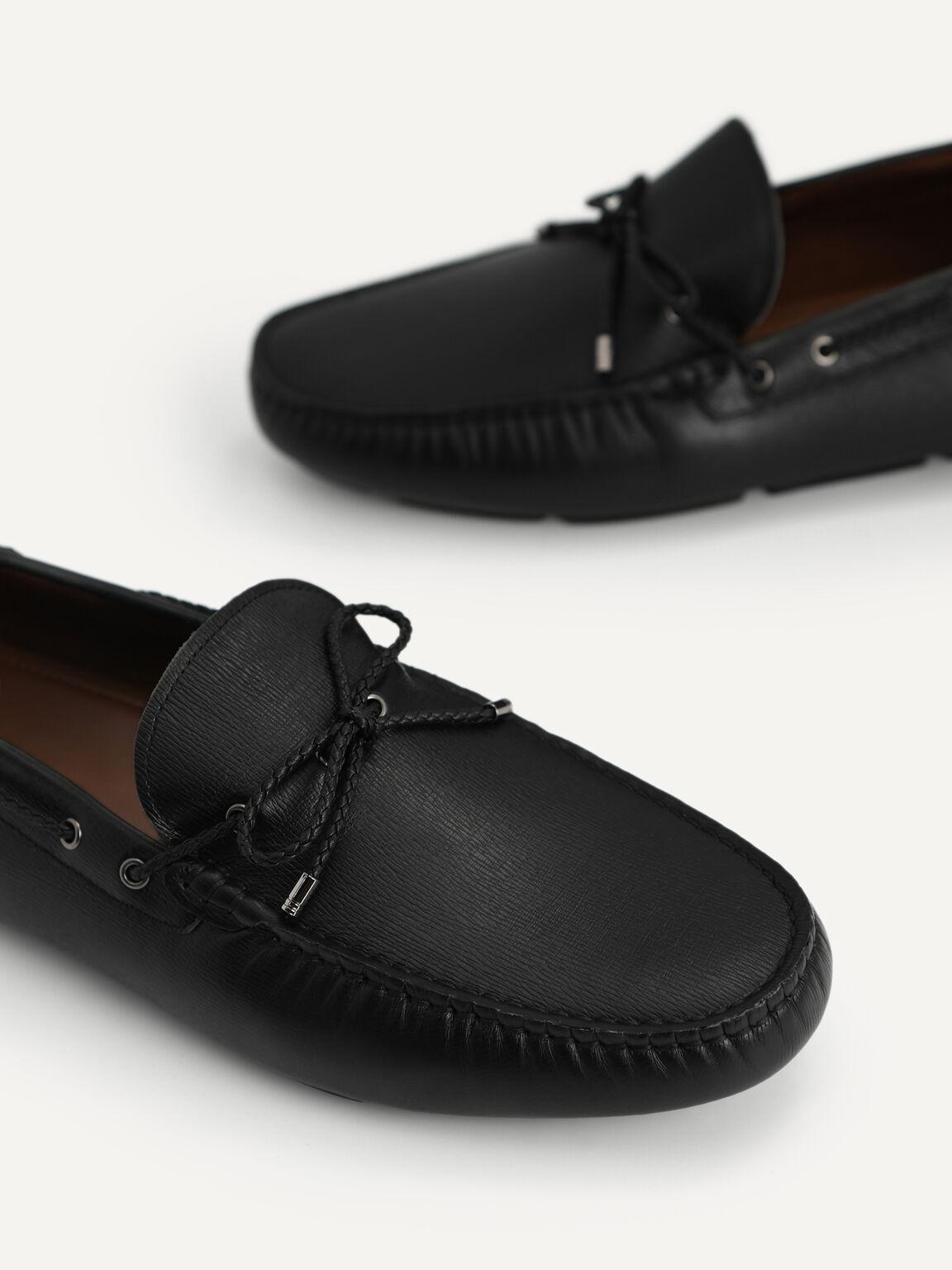 紋理牛皮莫卡辛鞋, 黑色, hi-res