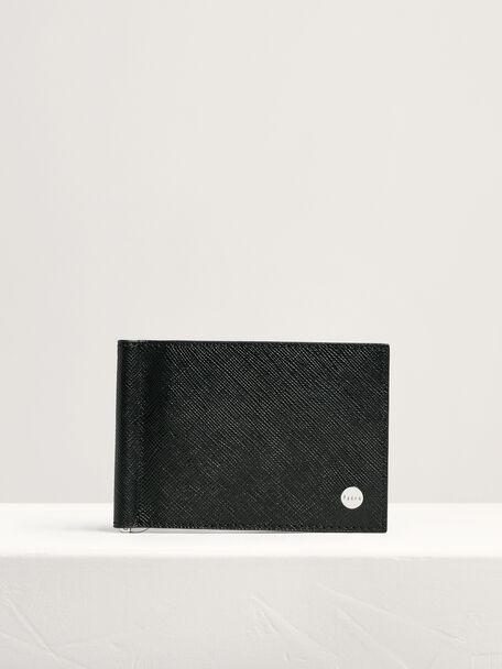 Leather Bi-Fold Money Clip Cardholder, Black, hi-res