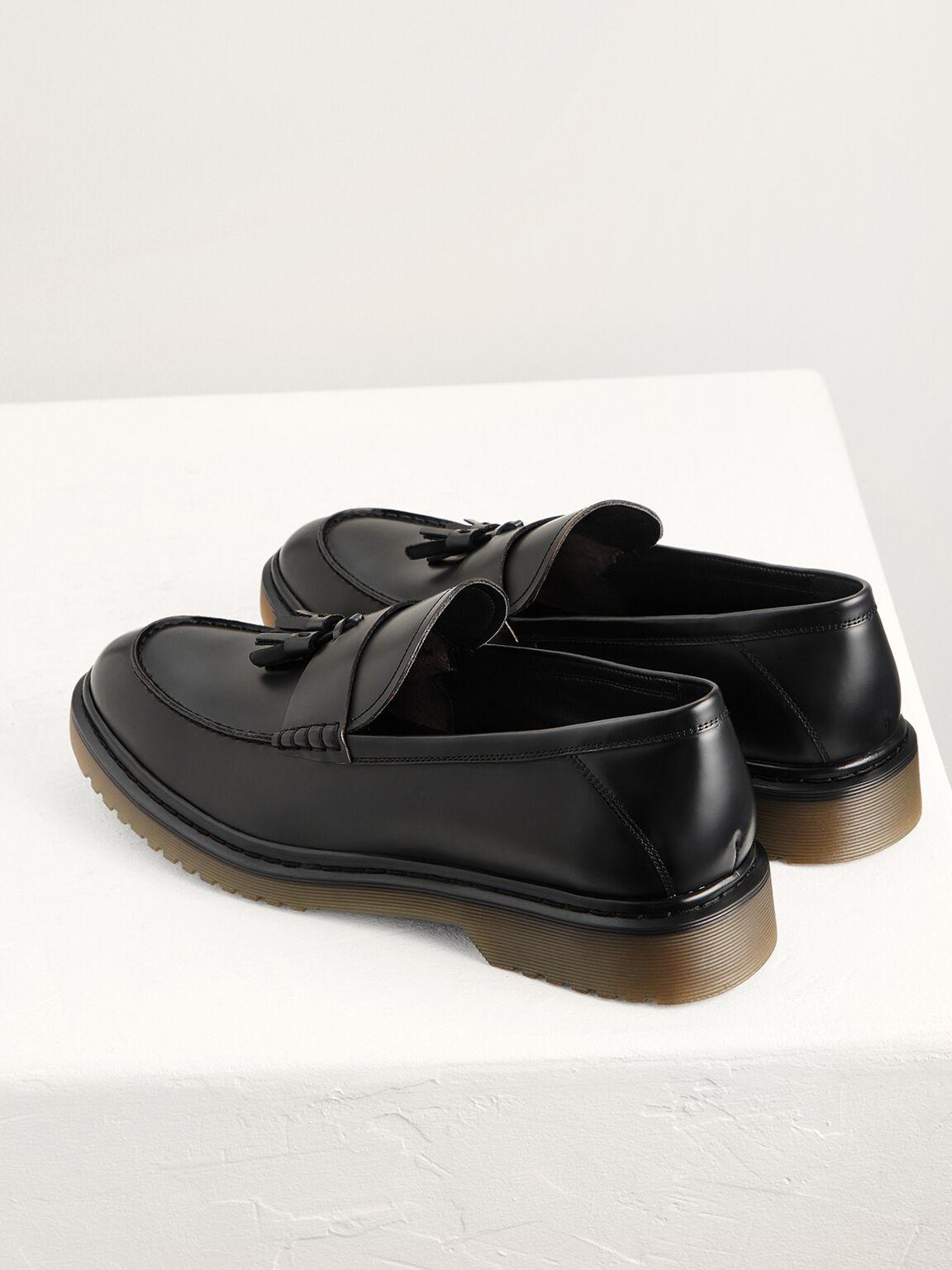 Leather Tasselled Loafers, Black, hi-res