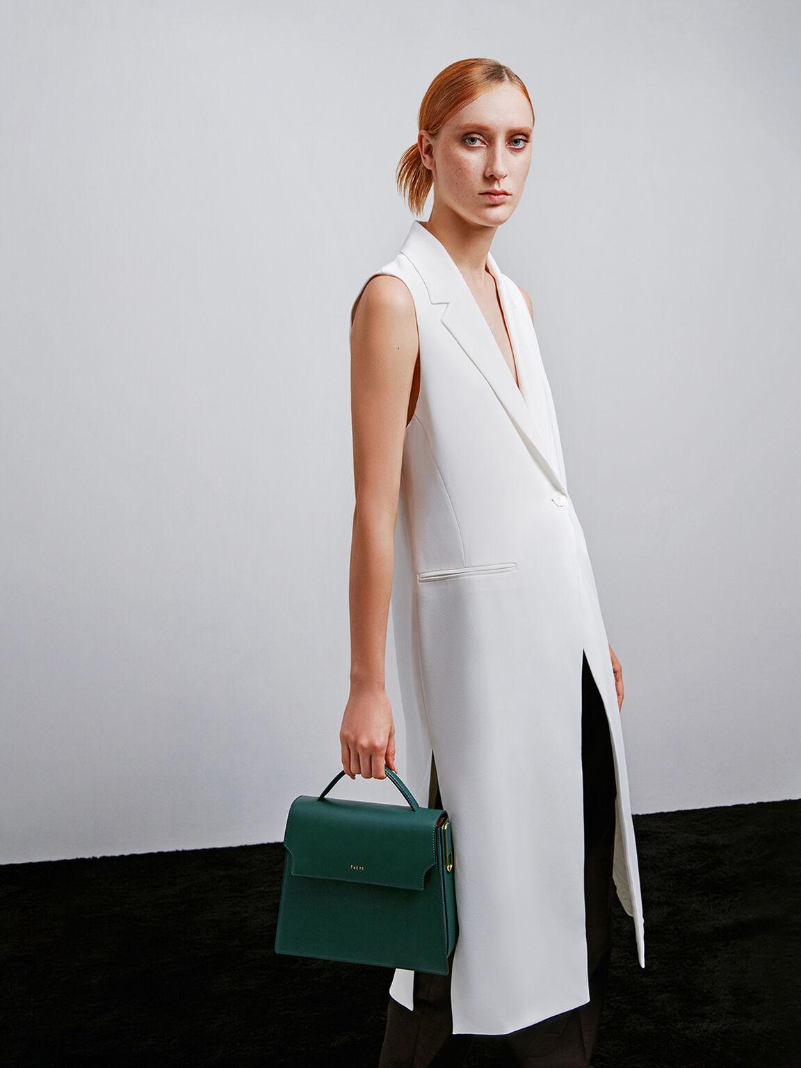 Top Handle Leather Bag, Green, hi-res