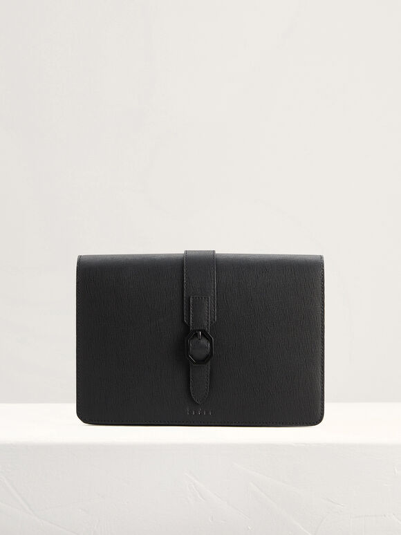 Buckled Leather Clutch, Black, hi-res