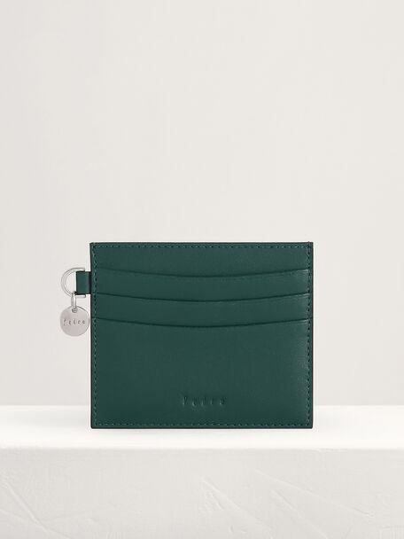 Leather Card Holder, Green, hi-res