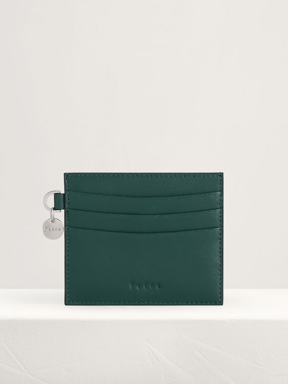 Leather Card Holder, Green, hi-res