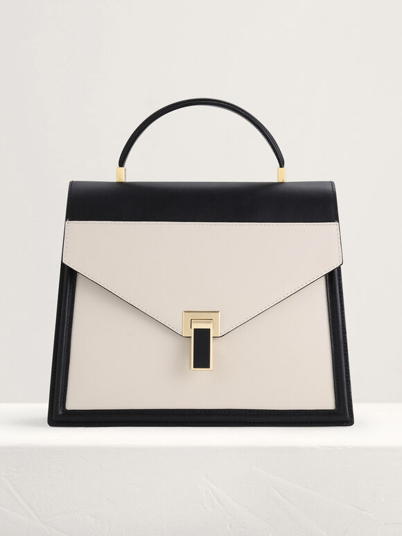 Leather Top Handle Bag in Two Tone, Multi, hi-res