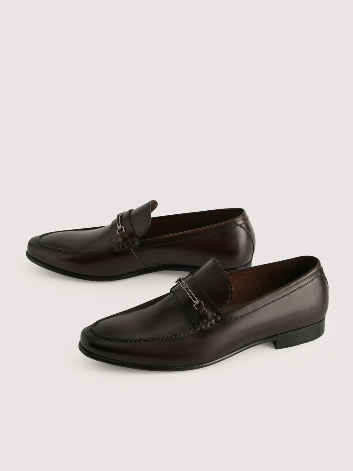 Leather Loafers with Silver Buckle, Dark Brown, hi-res