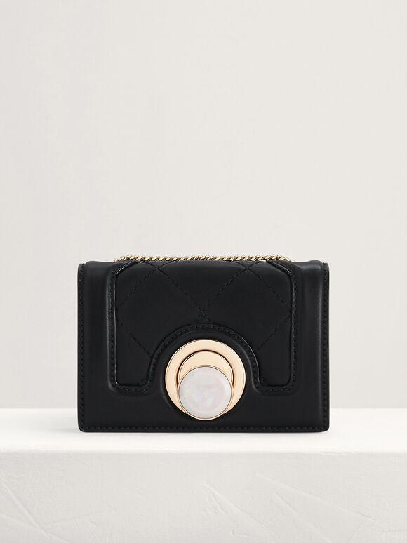 Micro Quilted Shoulder Bag, Black, hi-res