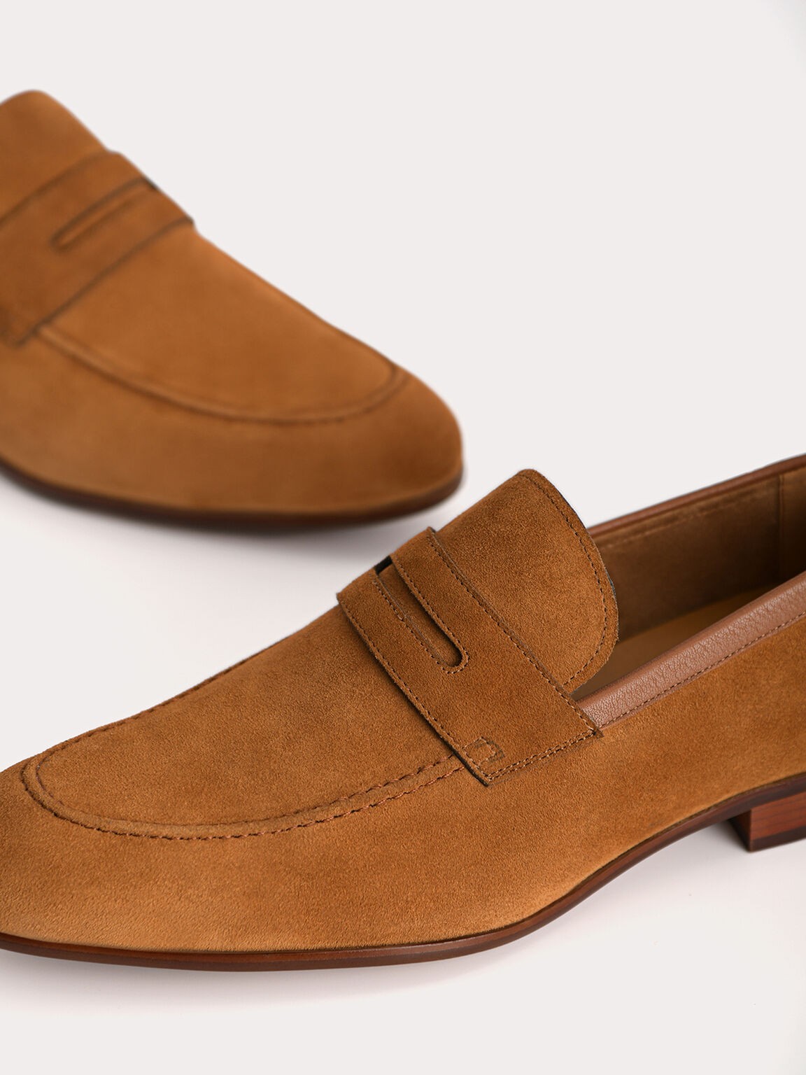 Suede Penny Loafers, Camel, hi-res