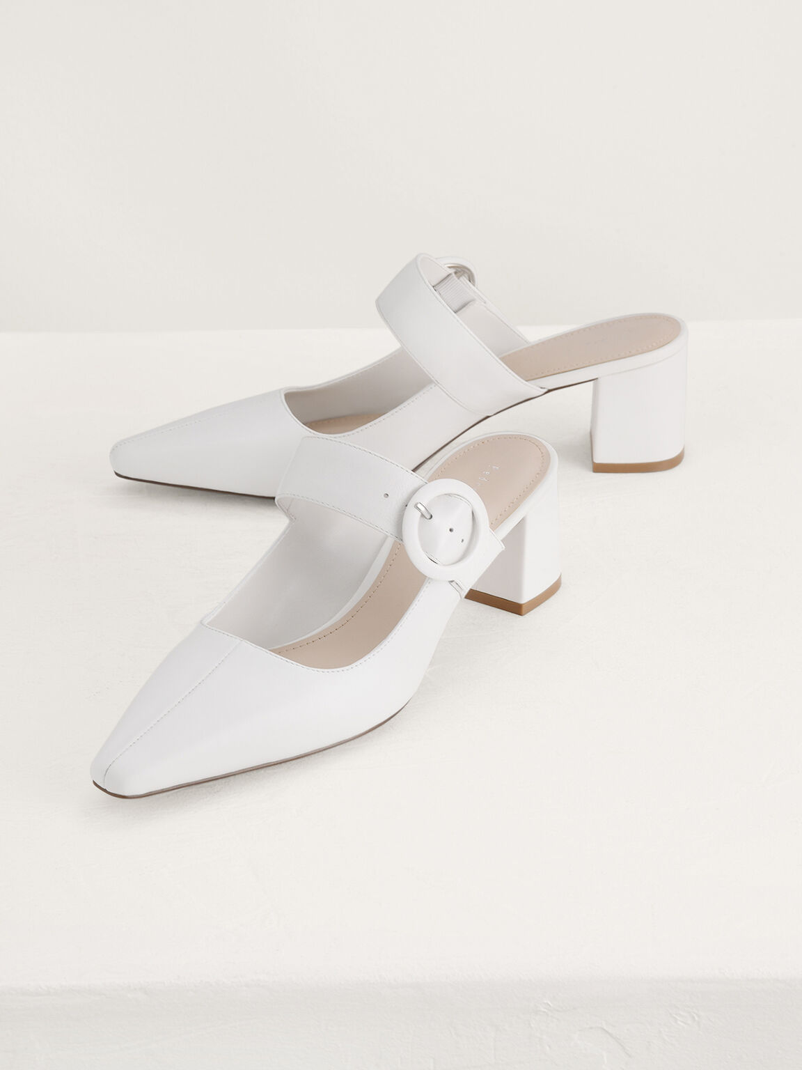 Buckled Leather Mules, White, hi-res