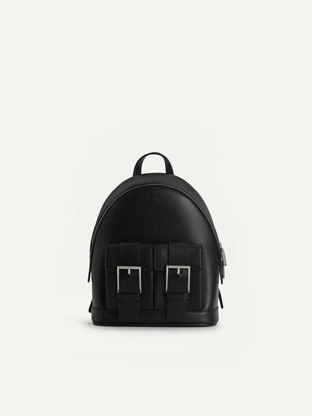 Backpack with Buckled Pockets, Black, hi-res