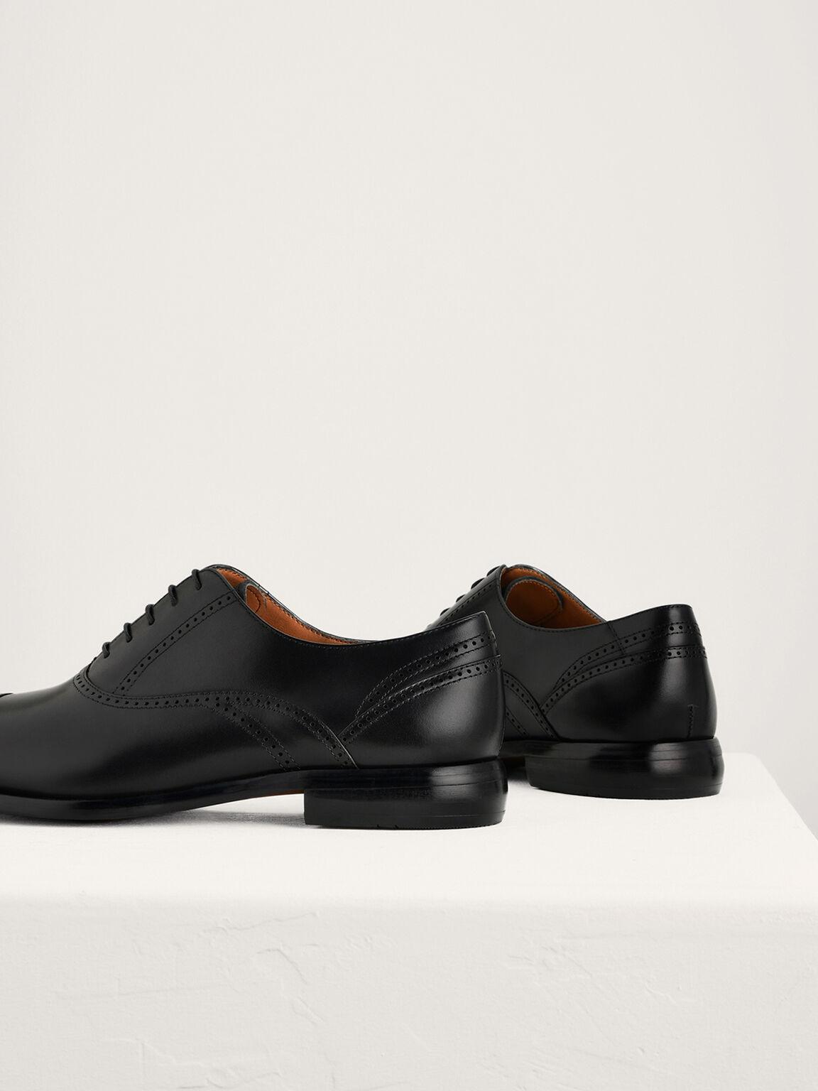 Leather Oxford Brogues, Black, hi-res