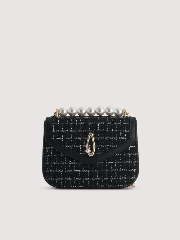 Pearl Detail Shoulder Bag, Black, hi-res