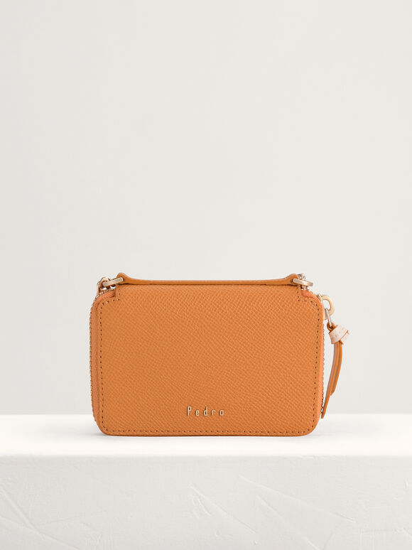 Leather Zip Wallet, Camel, hi-res