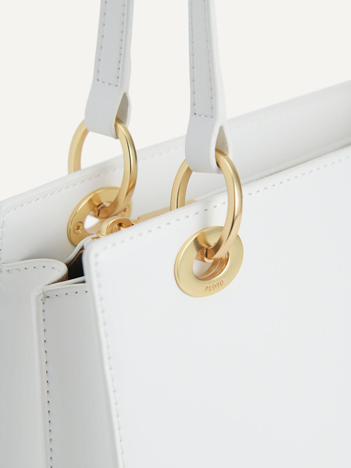Leather Top Handle Bag, Chalk, hi-res