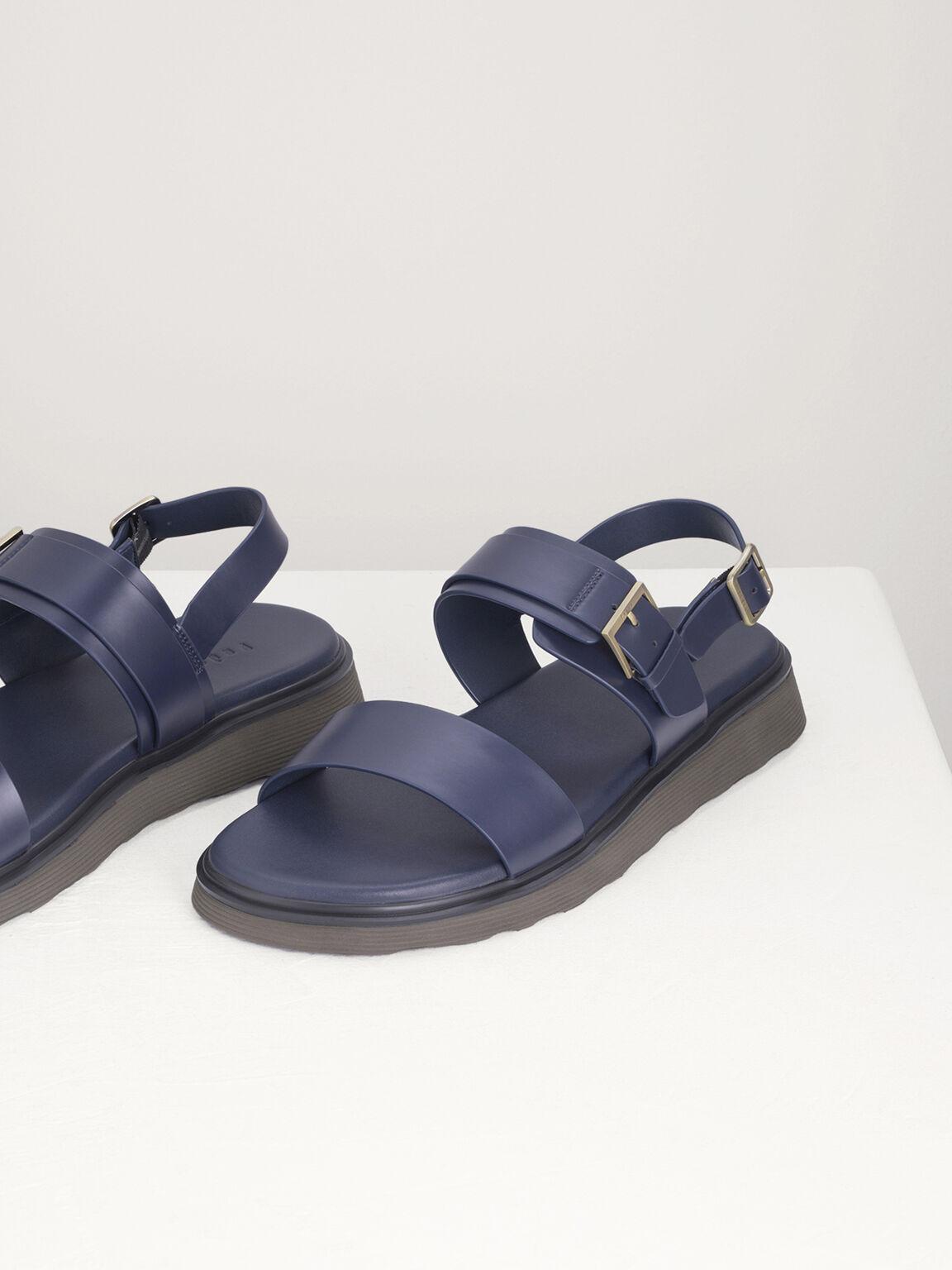 Buckled Sling Back Sandals, Navy, hi-res