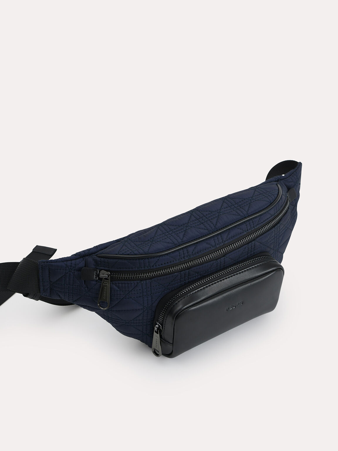 Quilted Sling Pouch, Navy, hi-res