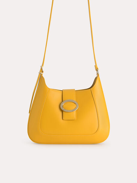 Top Handle Bag with Oval Buckle, Mustard, hi-res