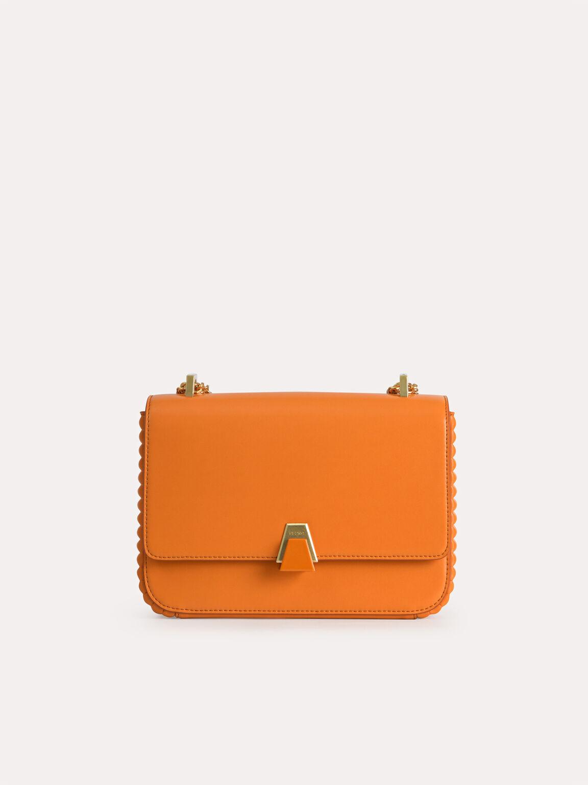 Structured Shoulder Bag, Orange, hi-res