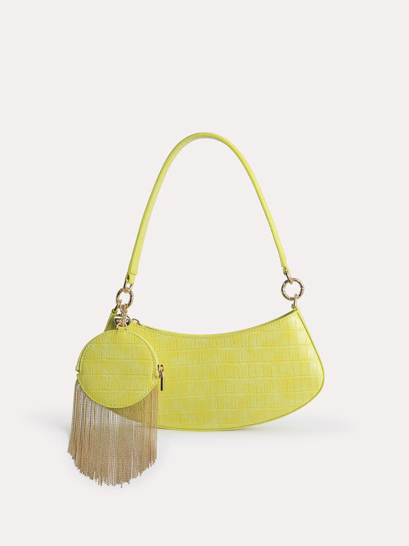 Croc-Effect Shoulder Bag, Yellow, hi-res