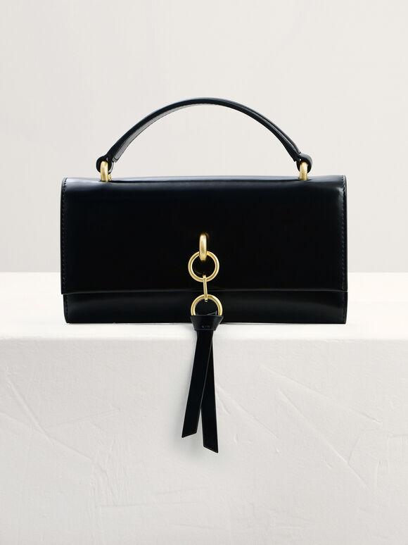 Leather Tasselled Tri-Fold Wallet, Black, hi-res