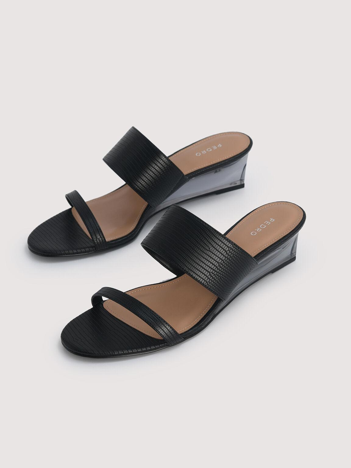 Embossed Slip-On Wedges, Black, hi-res