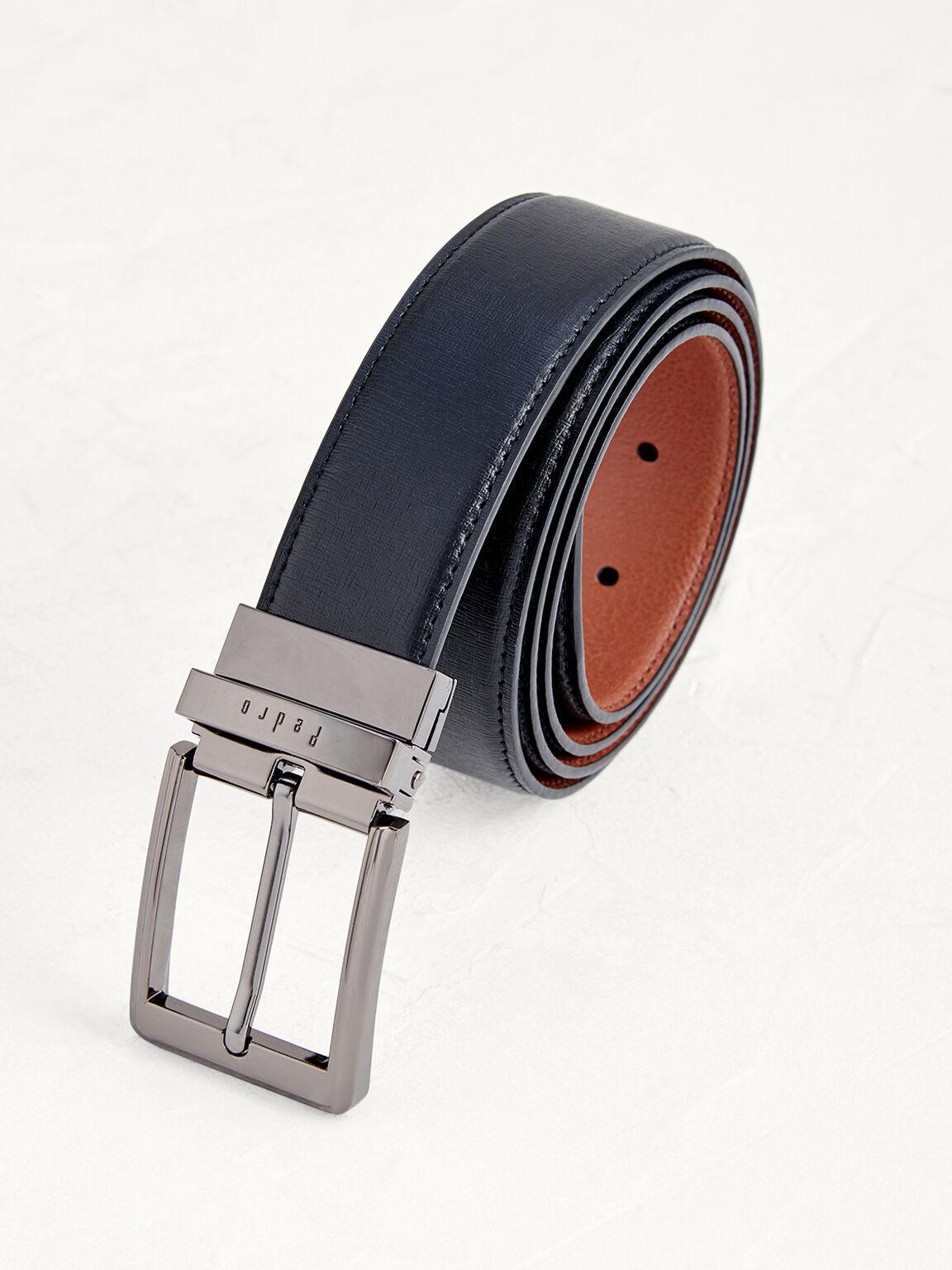 Reversible Pin Leather Belt, Black, hi-res